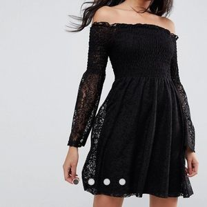 ASOS Bardot Shirred Lace Dress With Trumpet Sleeve